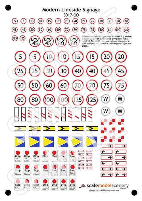 S017-OO Pre-Cut Modern Lineside Signs (Speed Restriction / Stop / Clearance etc) OO/4mm/1:76
